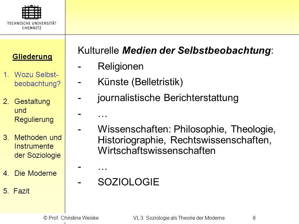 © Prof. Christine Weiske VL 3: Soziologie als Theorie der Moderne 6