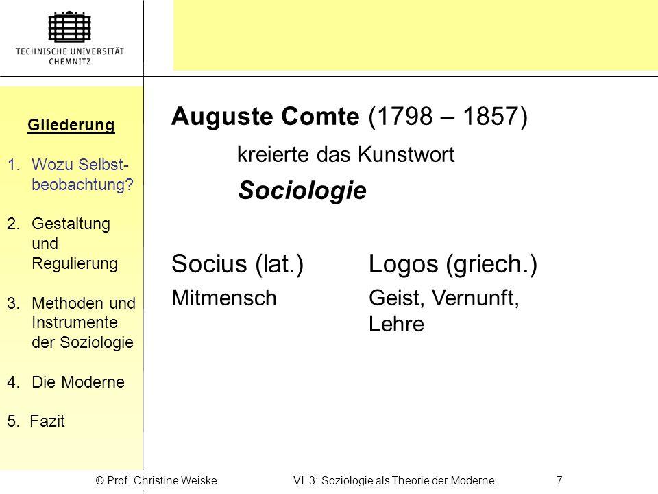 © Prof. Christine Weiske VL 3: Soziologie als Theorie der Moderne 7
