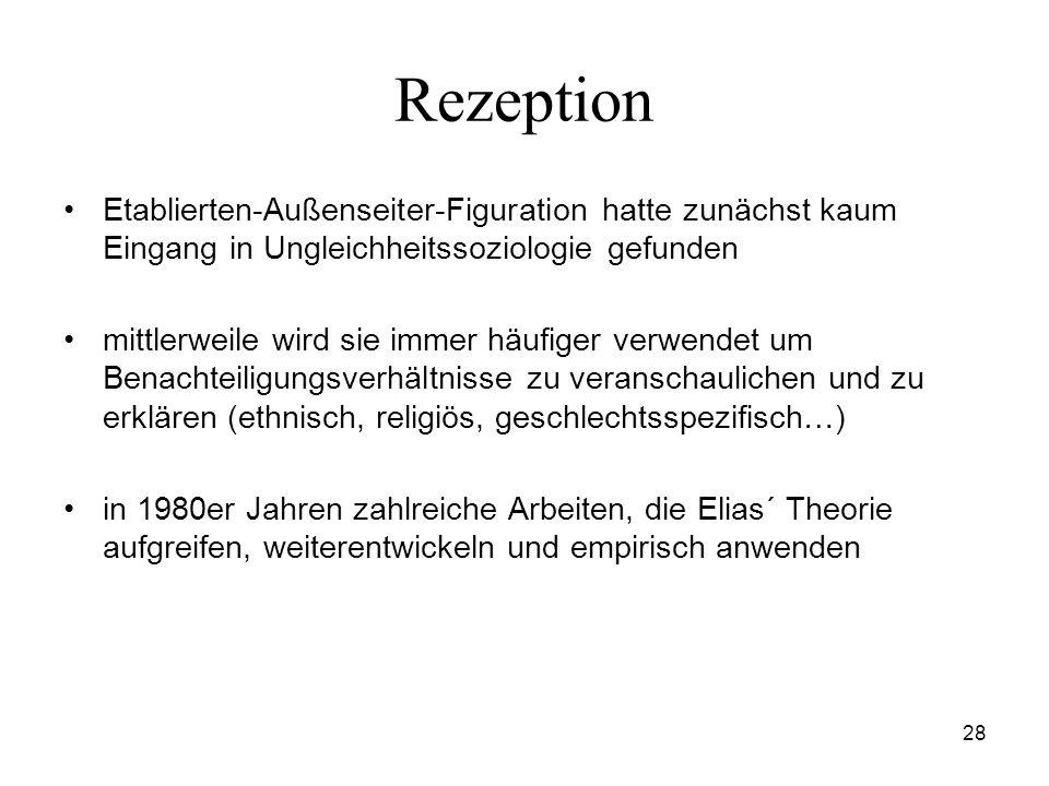 RezeptionEtablierten-Außenseiter-Figuration hatte zunächst kaum Eingang in Ungleichheitssoziologie gefunden.