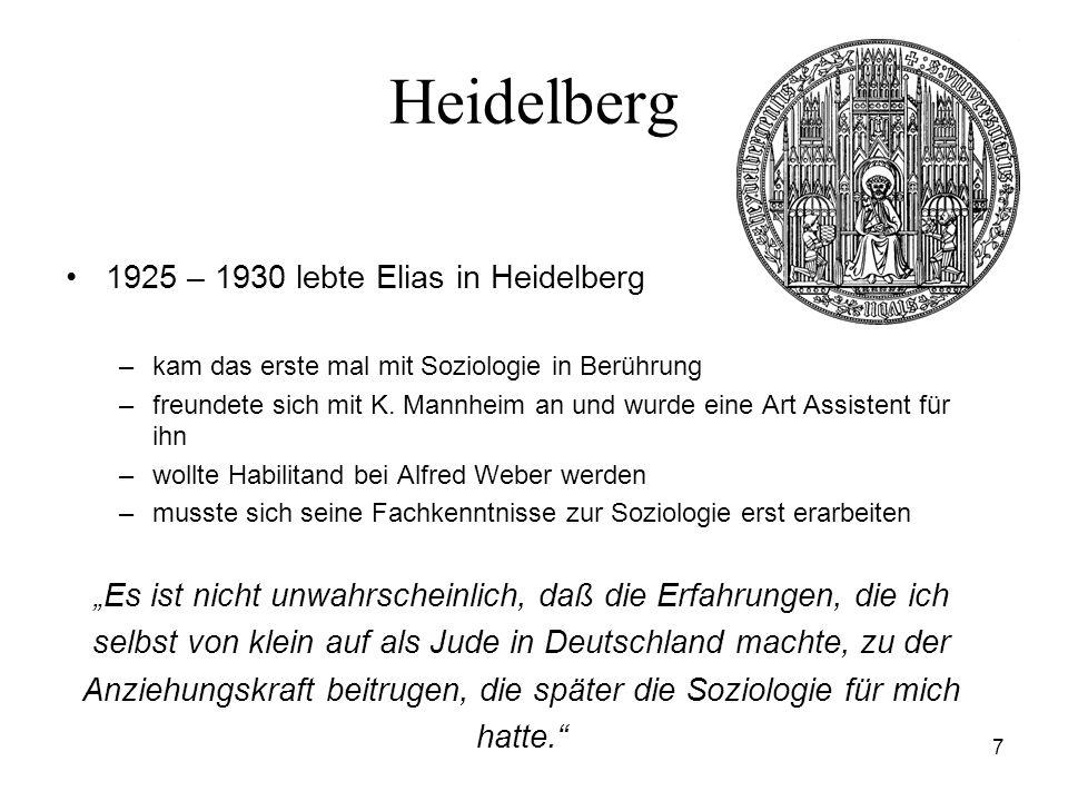 Heidelberg 1925 – 1930 lebte Elias in Heidelberg