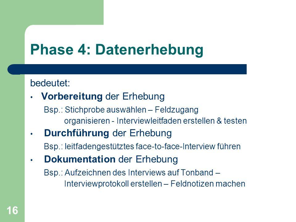 Phase 4: Datenerhebung bedeutet: Vorbereitung der Erhebung