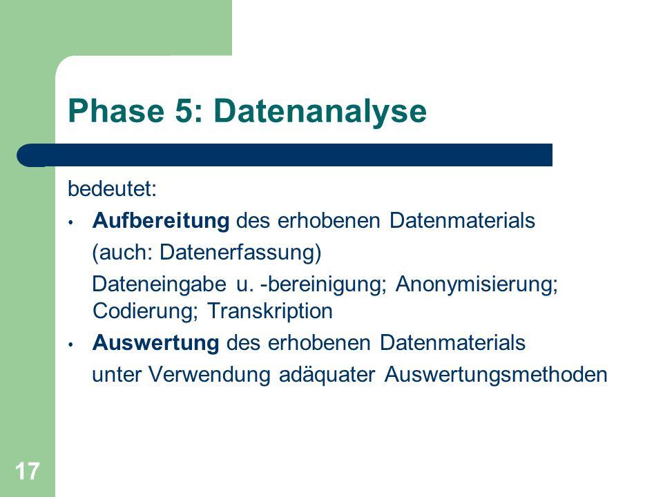 Phase 5: Datenanalyse bedeutet: