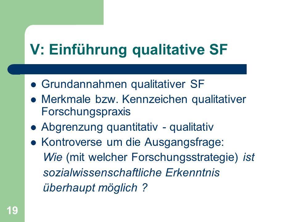 V: Einführung qualitative SF