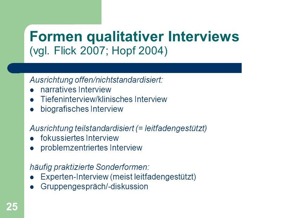 Formen qualitativer Interviews (vgl. Flick 2007; Hopf 2004)