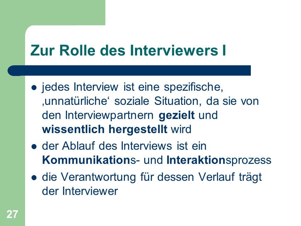 Zur Rolle des Interviewers I