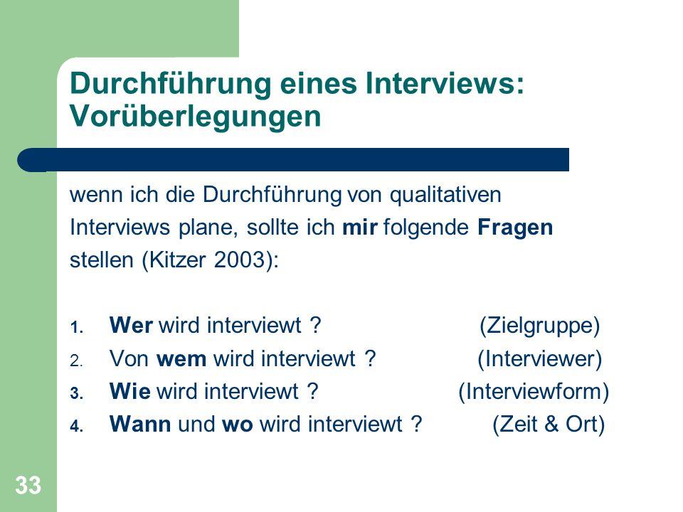 Durchführung eines Interviews: Vorüberlegungen