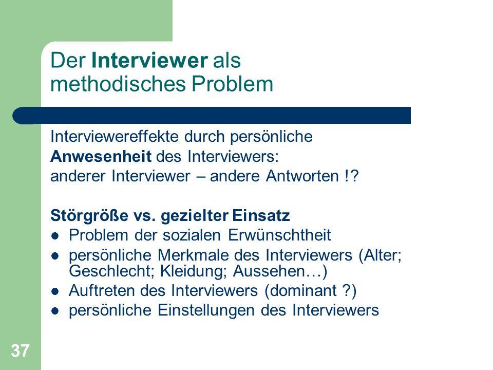 Der Interviewer als methodisches Problem