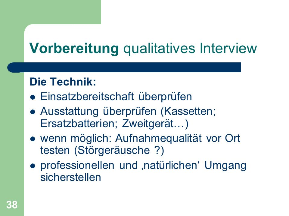 Vorbereitung qualitatives Interview