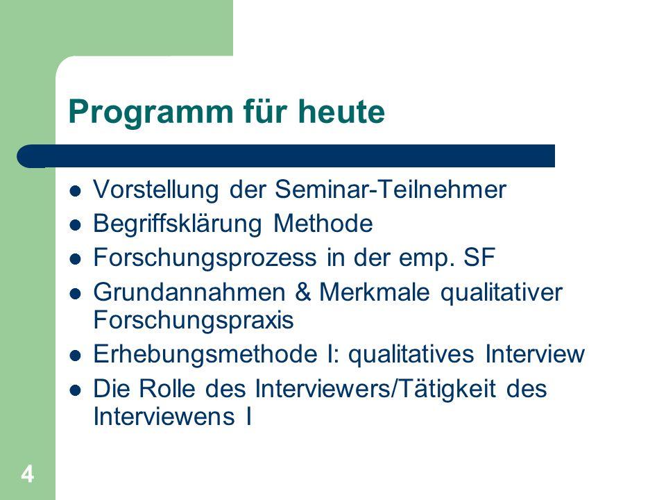 Programm für heute Vorstellung der Seminar-Teilnehmer