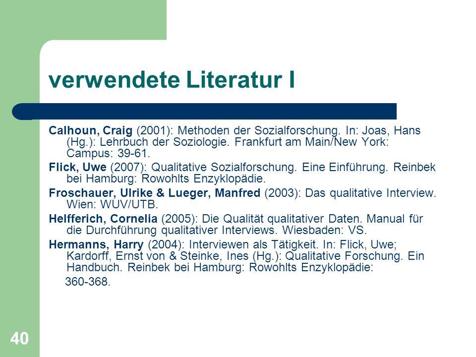 verwendete Literatur I