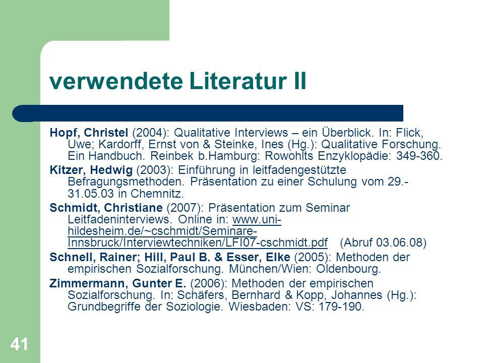verwendete Literatur II