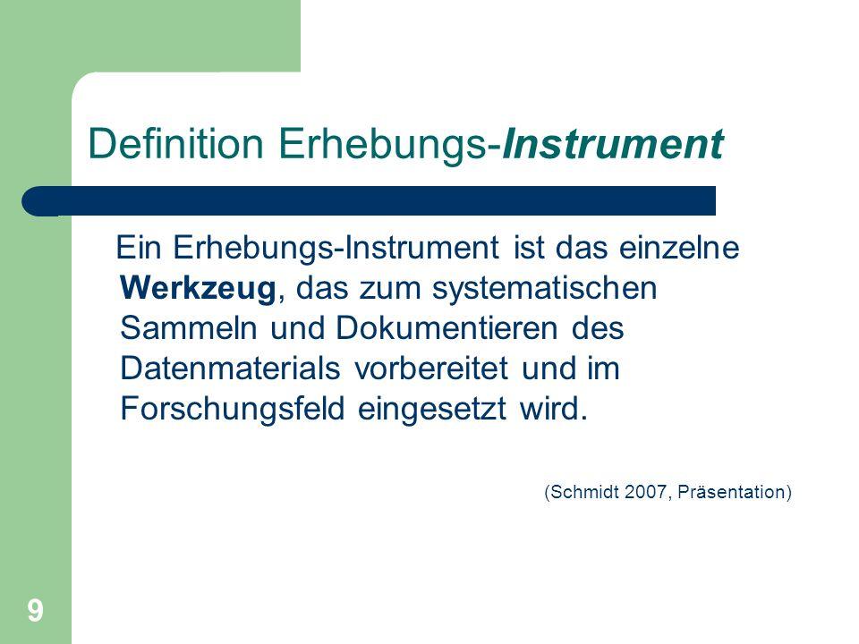Definition Erhebungs-Instrument
