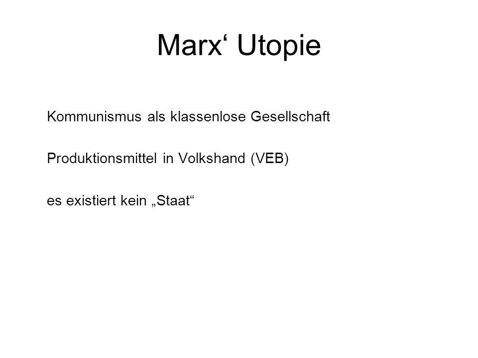 Marx' Utopie Kommunismus als klassenlose Gesellschaft
