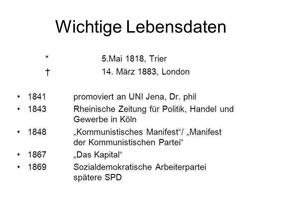 Wichtige Lebensdaten * 5.Mai 1818, Trier † 14. März 1883, London