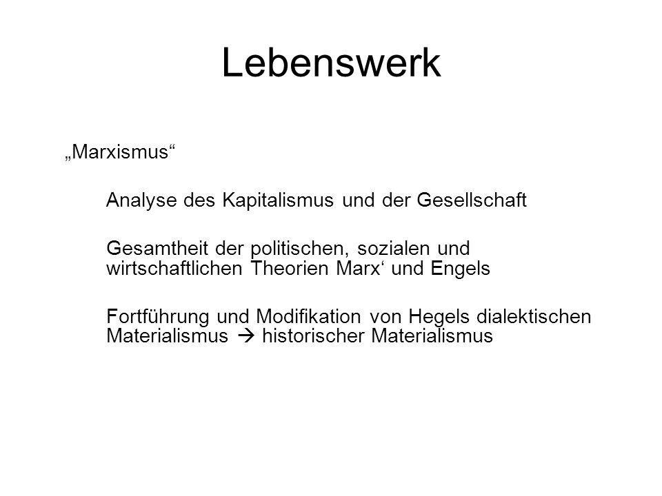 """Lebenswerk """"Marxismus Analyse des Kapitalismus und der Gesellschaft"""