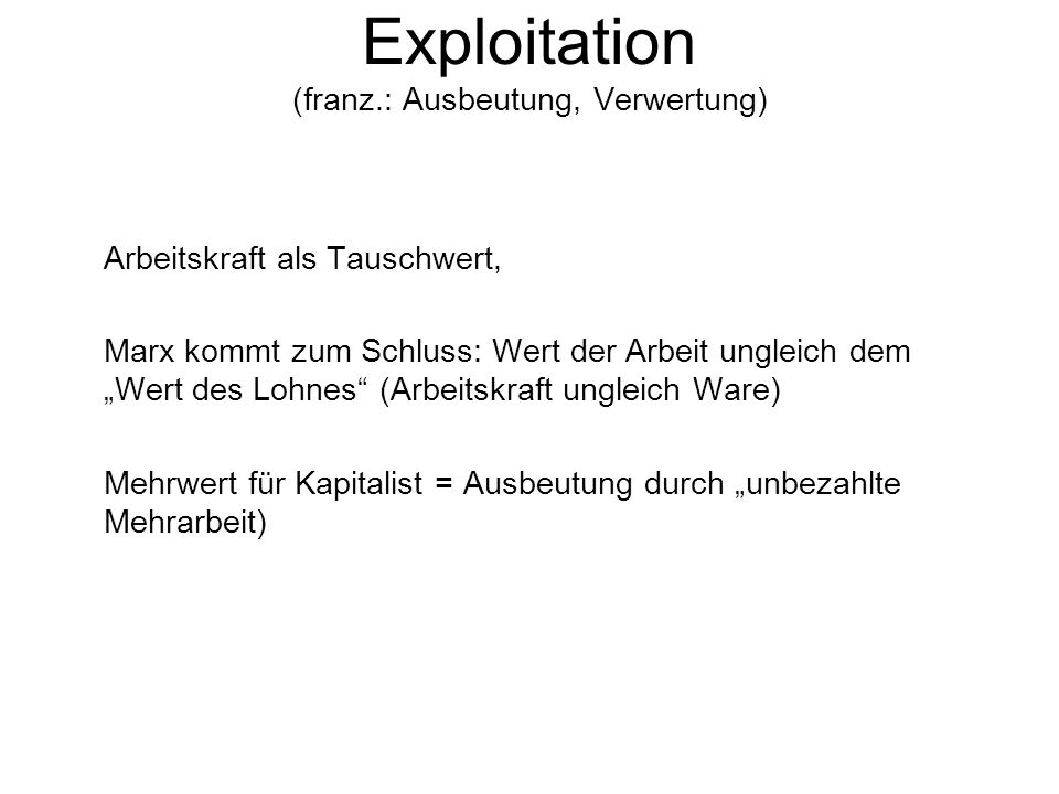 Exploitation (franz.: Ausbeutung, Verwertung)