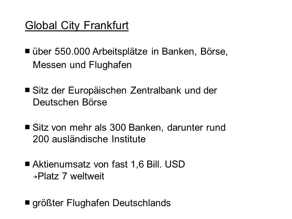 Global City Frankfurt ■ über 550