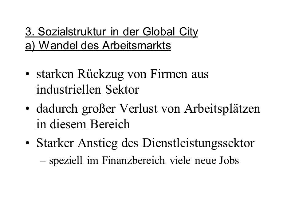 3. Sozialstruktur in der Global City a) Wandel des Arbeitsmarkts
