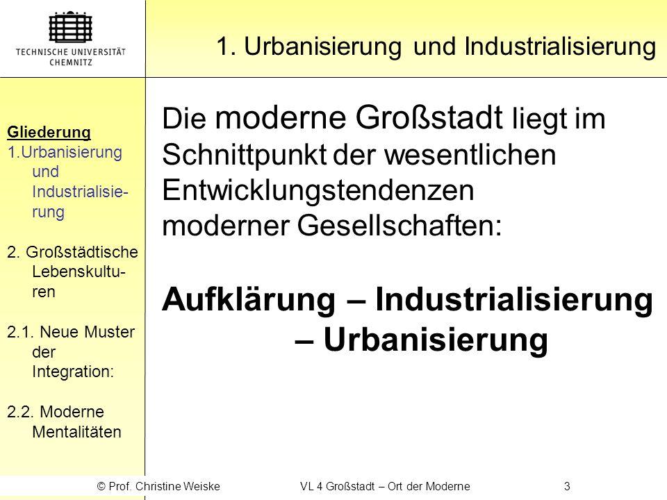 Aufklärung – Industrialisierung – Urbanisierung