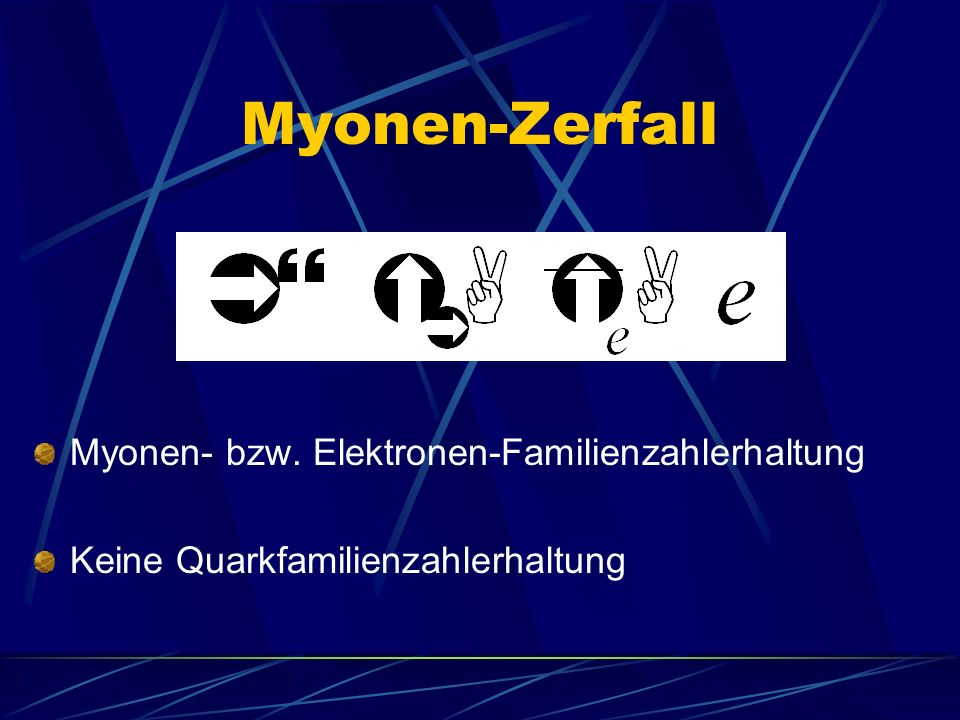 Myonen-Zerfall Myonen- bzw. Elektronen-Familienzahlerhaltung