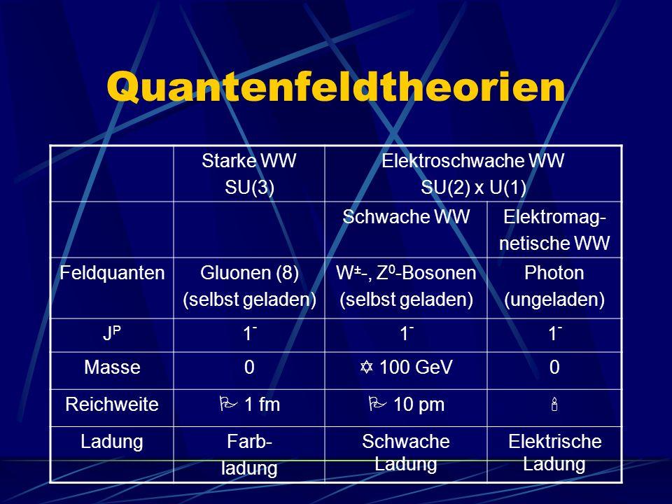 Quantenfeldtheorien Starke WW SU(3) Elektroschwache WW SU(2) x U(1)
