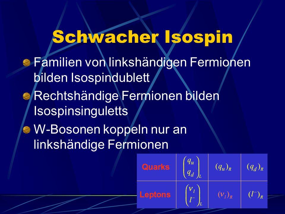 Schwacher Isospin Familien von linkshändigen Fermionen bilden Isospindublett. Rechtshändige Fermionen bilden Isospinsinguletts.