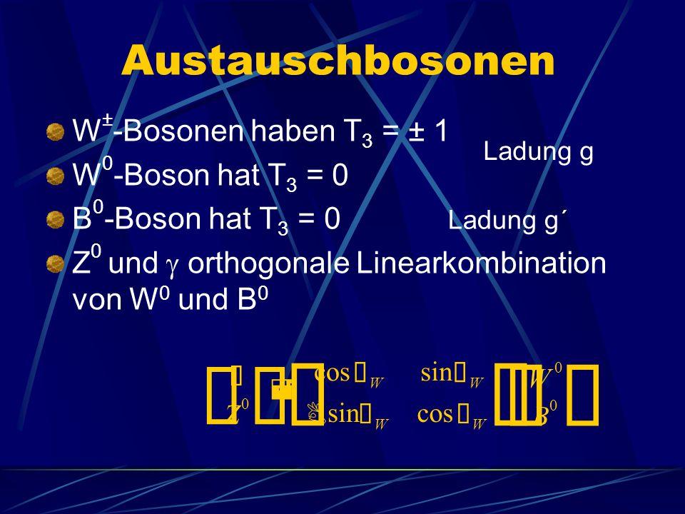 ¢ £ Austauschbosonen W±-Bosonen haben T3 = ± 1 W0-Boson hat T3 = 0