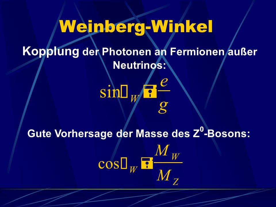 e sin Ø = g Weinberg-Winkel M cos Ø = M