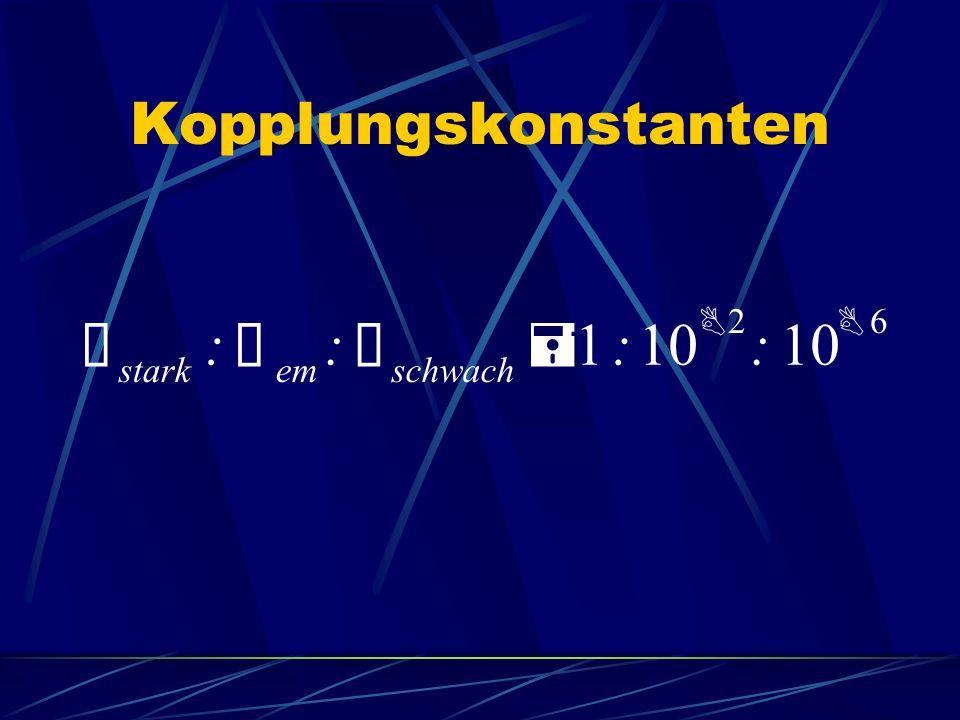 Kopplungskonstanten Ñ stark : em schwach = 1 10 B 2 6