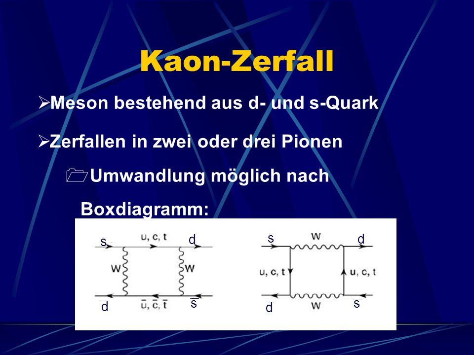 Kaon-Zerfall Meson bestehend aus d- und s-Quark