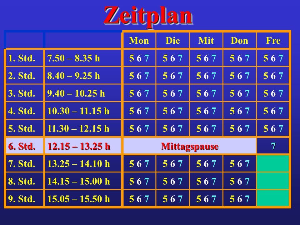 Zeitplan Mon Die Mit Don Fre 1. Std. 7.50 – 8.35 h 5 6 7 2. Std.