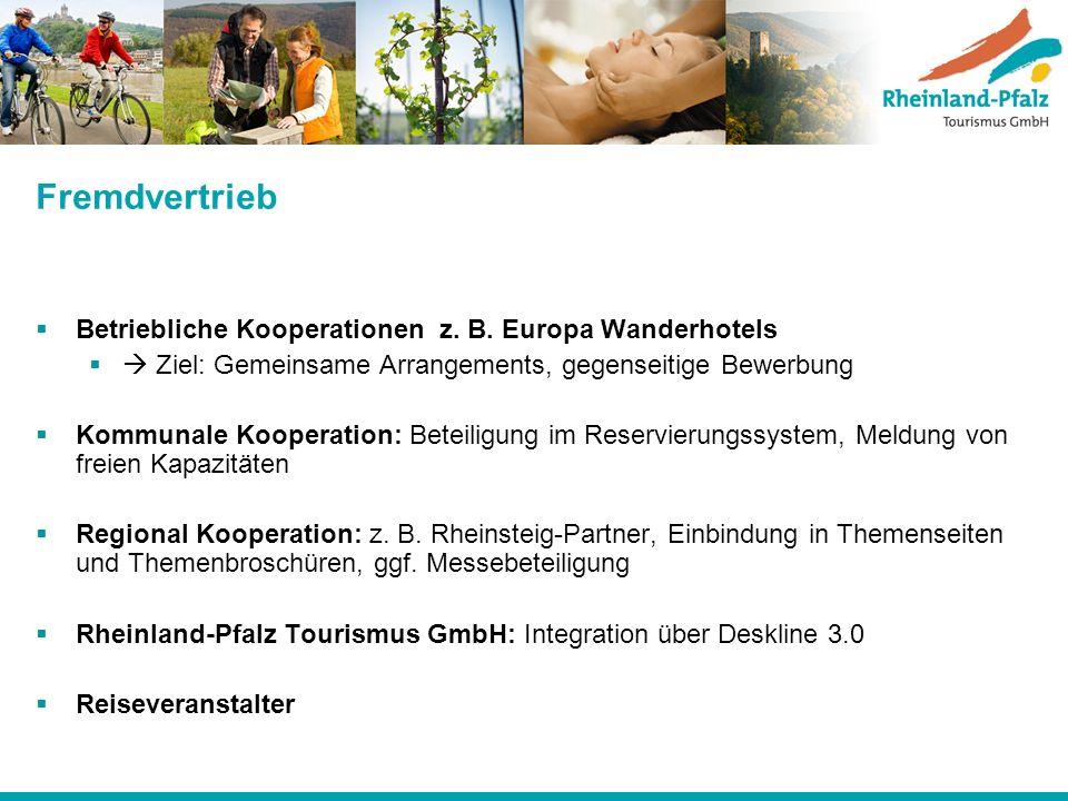 Fremdvertrieb Betriebliche Kooperationen z. B. Europa Wanderhotels