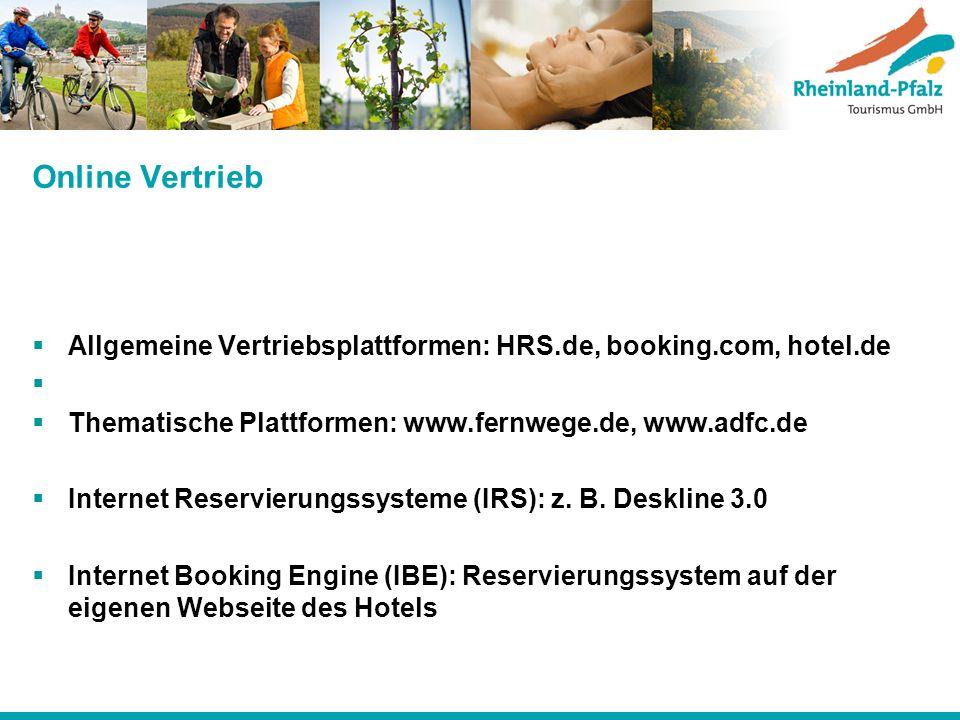 Online Vertrieb Allgemeine Vertriebsplattformen: HRS.de, booking.com, hotel.de. Thematische Plattformen: www.fernwege.de, www.adfc.de.