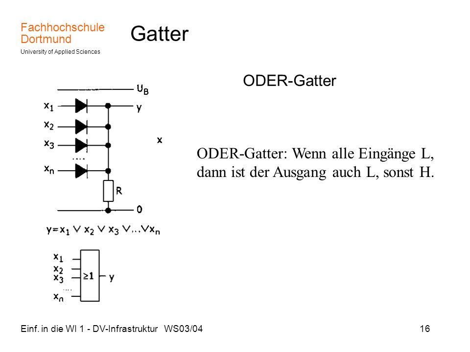 Gatter ODER-Gatter. ODER-Gatter: Wenn alle Eingänge L, dann ist der Ausgang auch L, sonst H.