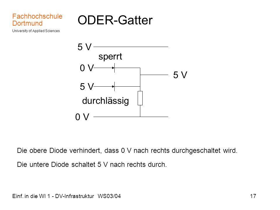ODER-Gatter 5 V sperrt 0 V 5 V 5 V durchlässig 0 V