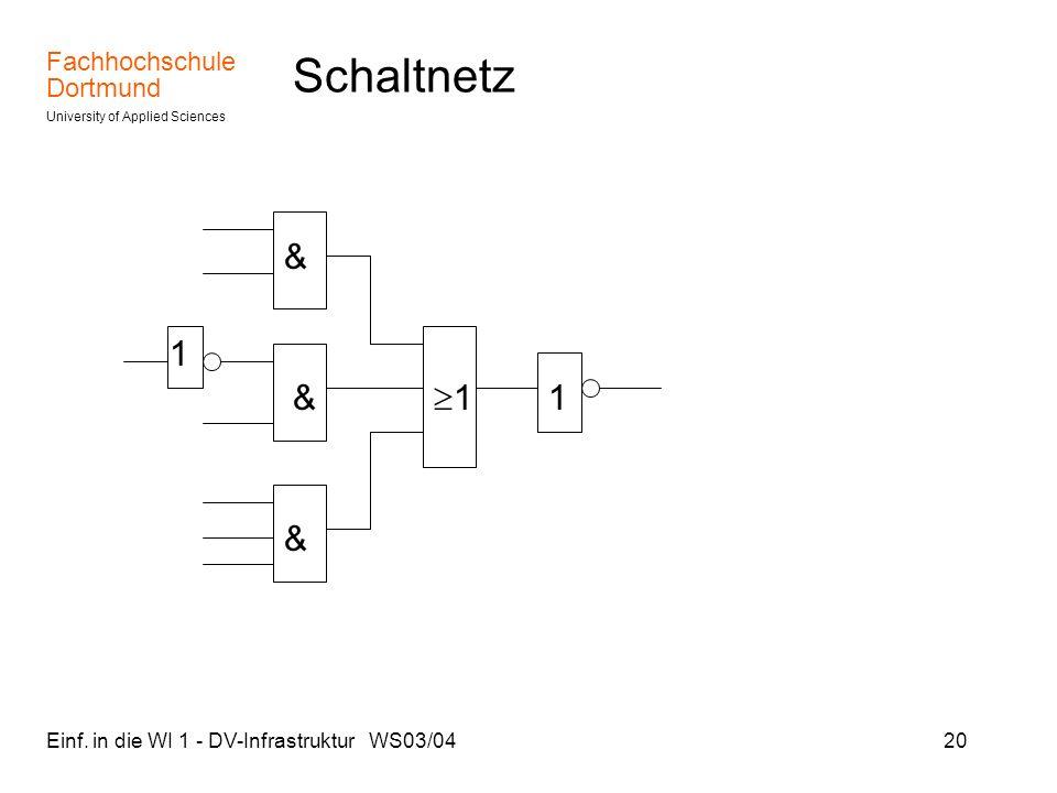 Schaltnetz & 1 & 1 1 & Einf. in die WI 1 - DV-Infrastruktur WS03/04