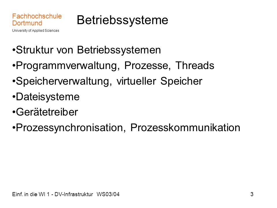 Betriebssysteme Struktur von Betriebssystemen