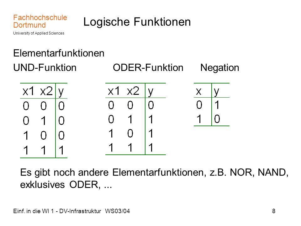 Logische Funktionen Elementarfunktionen