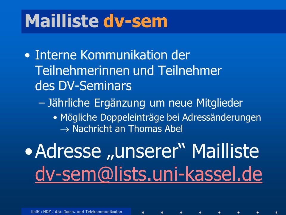 UniK / HRZ / Abt. Daten- und Telekommunikation