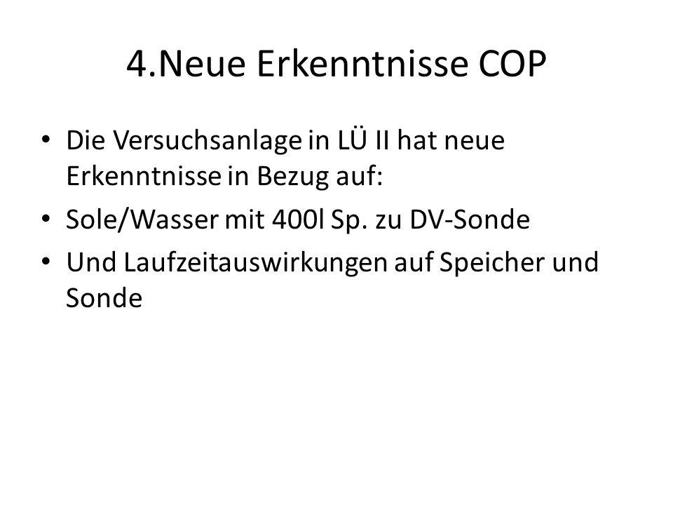 4.Neue Erkenntnisse COP Die Versuchsanlage in LÜ II hat neue Erkenntnisse in Bezug auf: Sole/Wasser mit 400l Sp. zu DV-Sonde.
