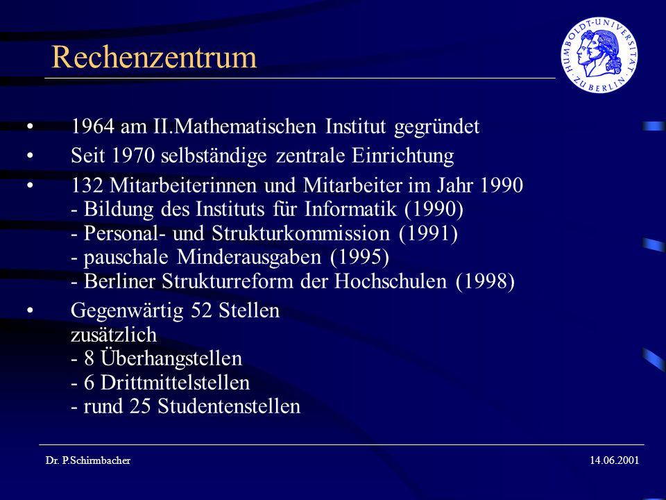 Rechenzentrum 1964 am II.Mathematischen Institut gegründet