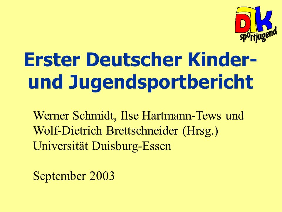 Erster Deutscher Kinder- und Jugendsportbericht