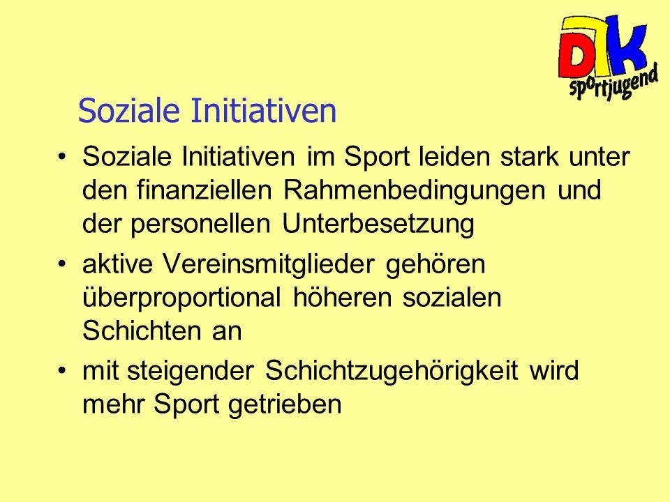 Soziale Initiativen Soziale Initiativen im Sport leiden stark unter den finanziellen Rahmenbedingungen und der personellen Unterbesetzung.