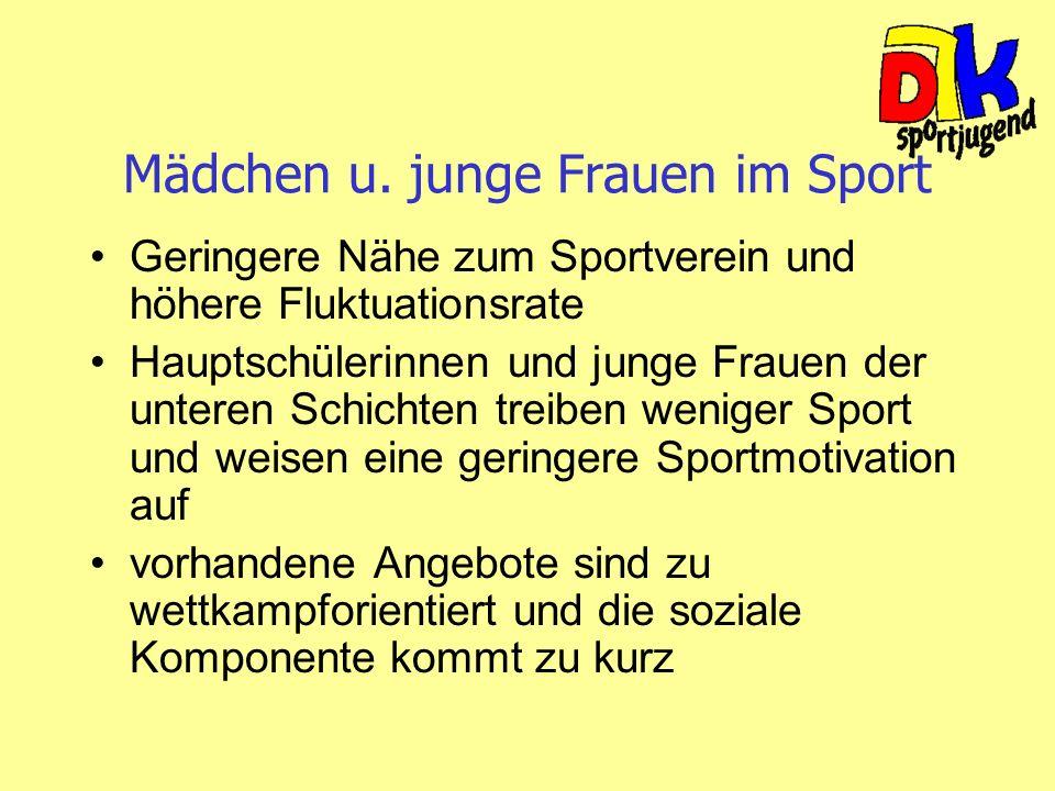 Mädchen u. junge Frauen im Sport