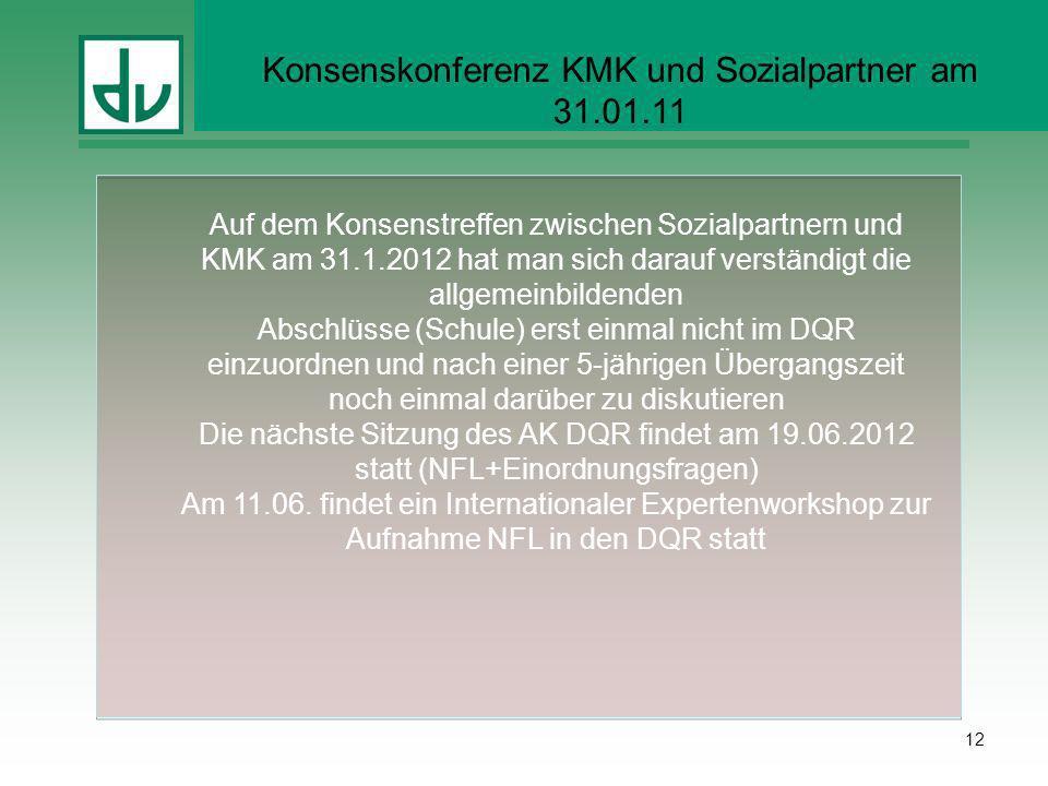 Konsenskonferenz KMK und Sozialpartner am 31.01.11