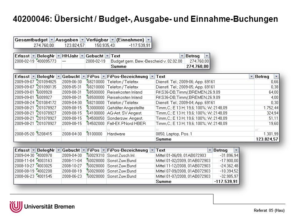 40200046: Übersicht / Budget-, Ausgabe- und Einnahme-Buchungen