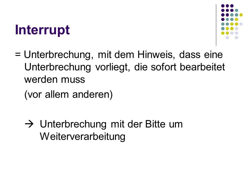 Interrupt = Unterbrechung, mit dem Hinweis, dass eine Unterbrechung vorliegt, die sofort bearbeitet werden muss.