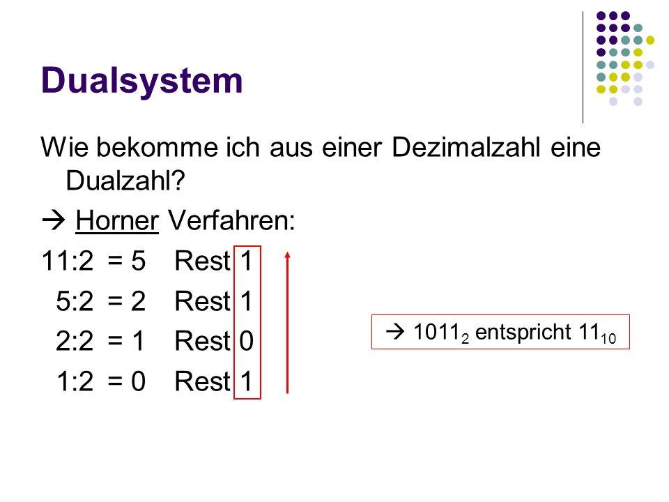 Dualsystem Wie bekomme ich aus einer Dezimalzahl eine Dualzahl