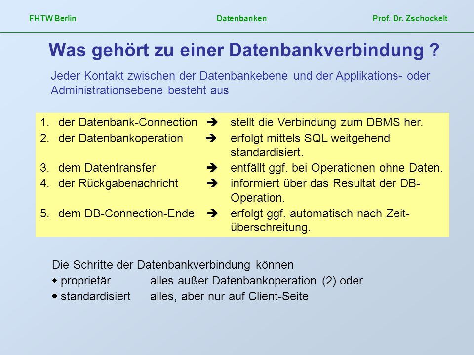 Was gehört zu einer Datenbankverbindung
