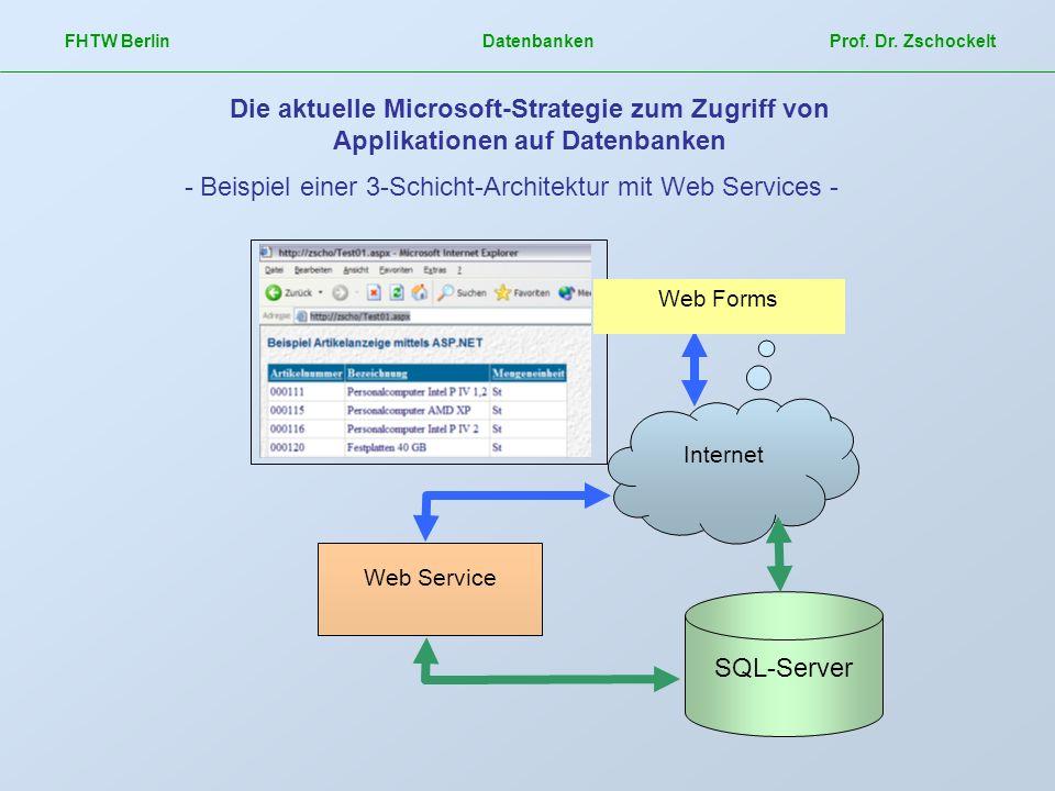 - Beispiel einer 3-Schicht-Architektur mit Web Services -